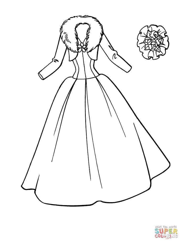 Wedding Dress coloring #8, Download drawings