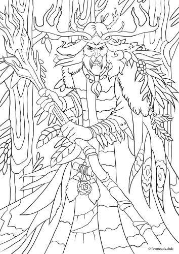 Druid coloring #9, Download drawings