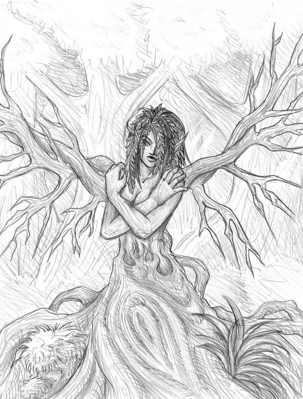 Dryad coloring #7, Download drawings
