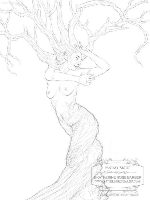 Dryad coloring #8, Download drawings