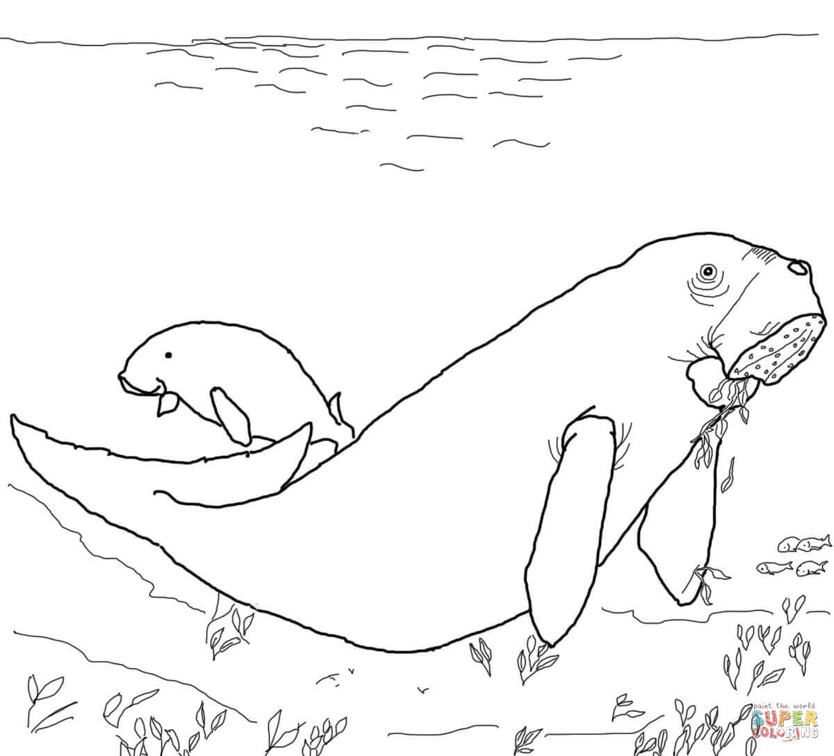 Dugong coloring #14, Download drawings
