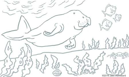 Dugong coloring #3, Download drawings