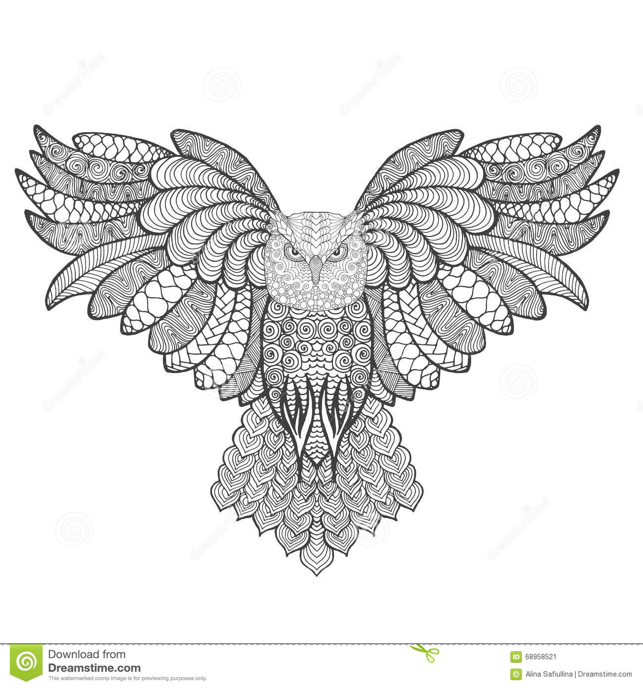 Eagle-owl coloring #6, Download drawings