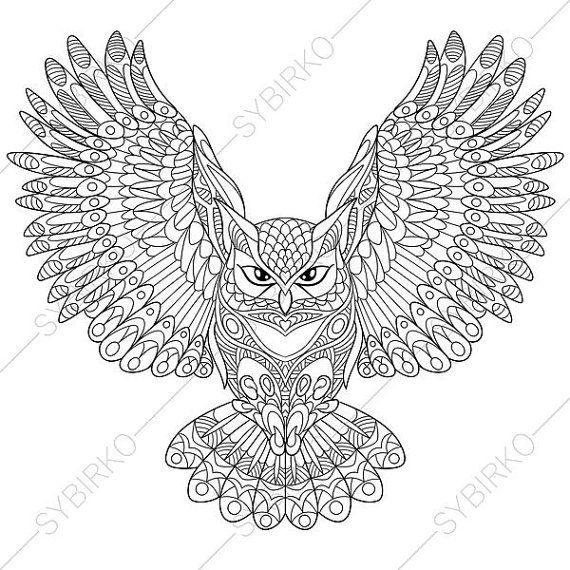 Eagle-owl coloring #8, Download drawings