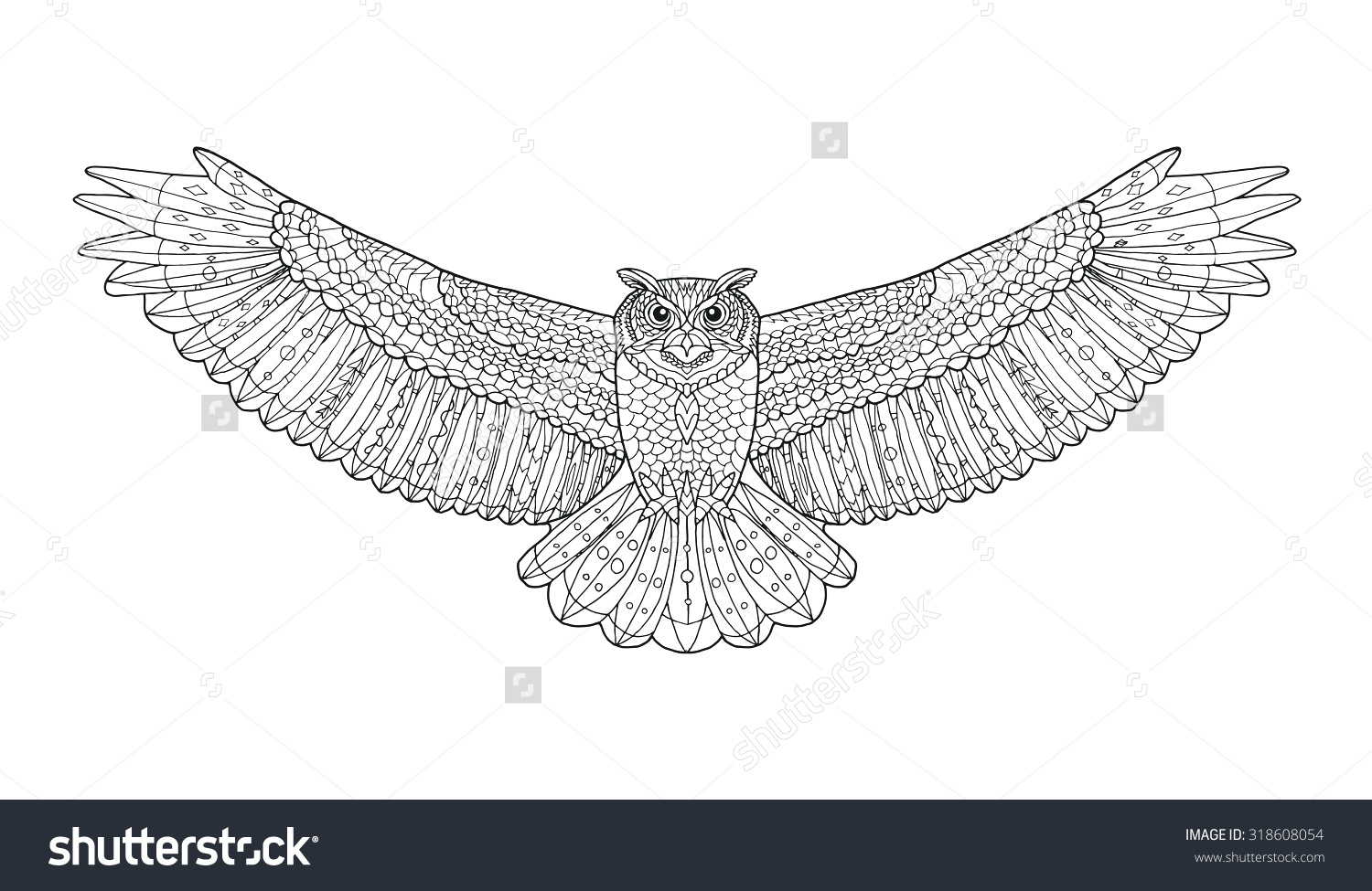 Eagle-owl coloring #13, Download drawings