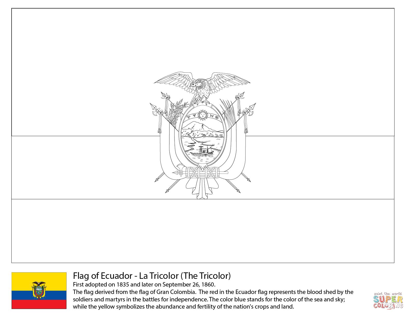 Ecuador coloring #14, Download drawings