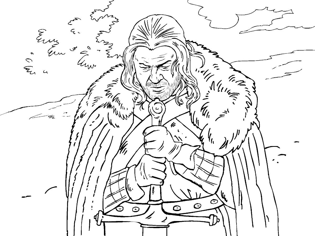 Eddard Stark coloring #17, Download drawings