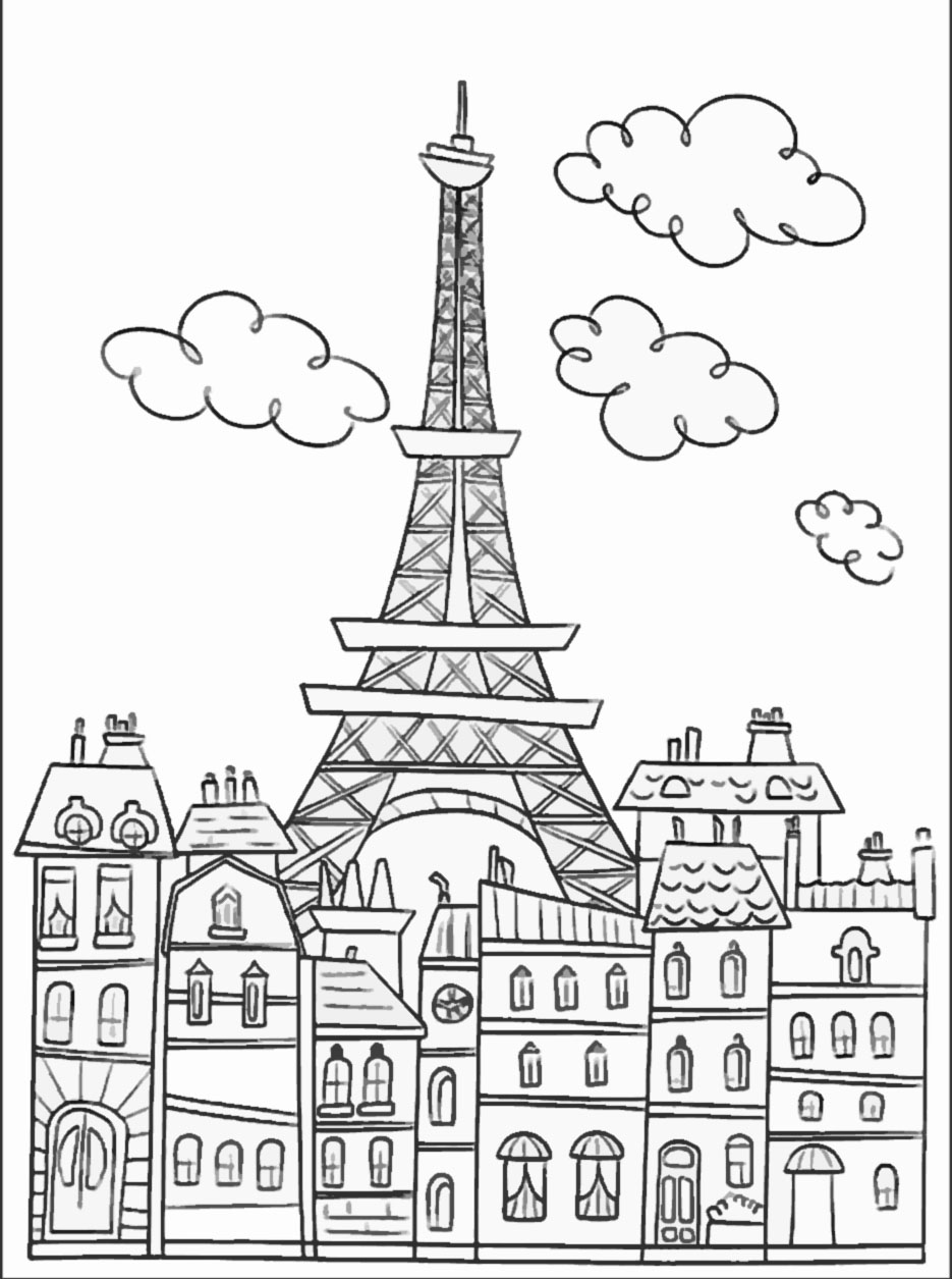 Eiffel Tower coloring #8, Download drawings