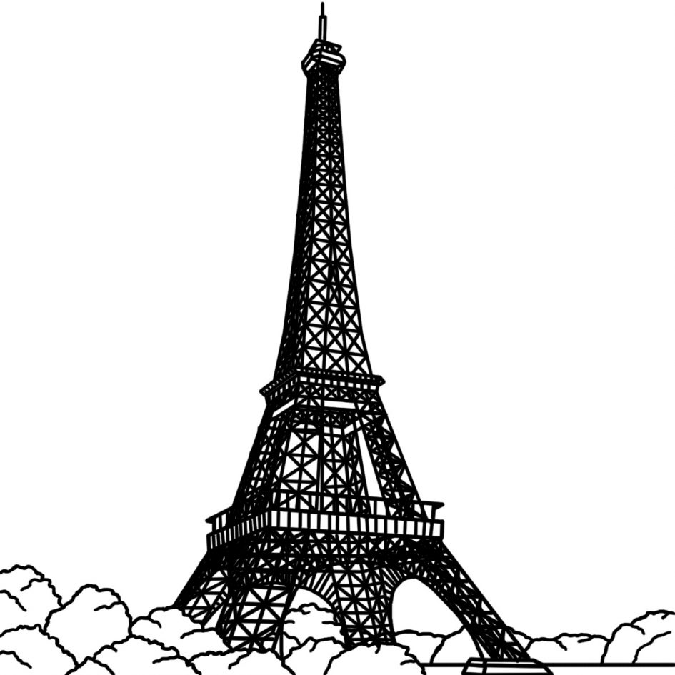 Eiffel Tower coloring #7, Download drawings