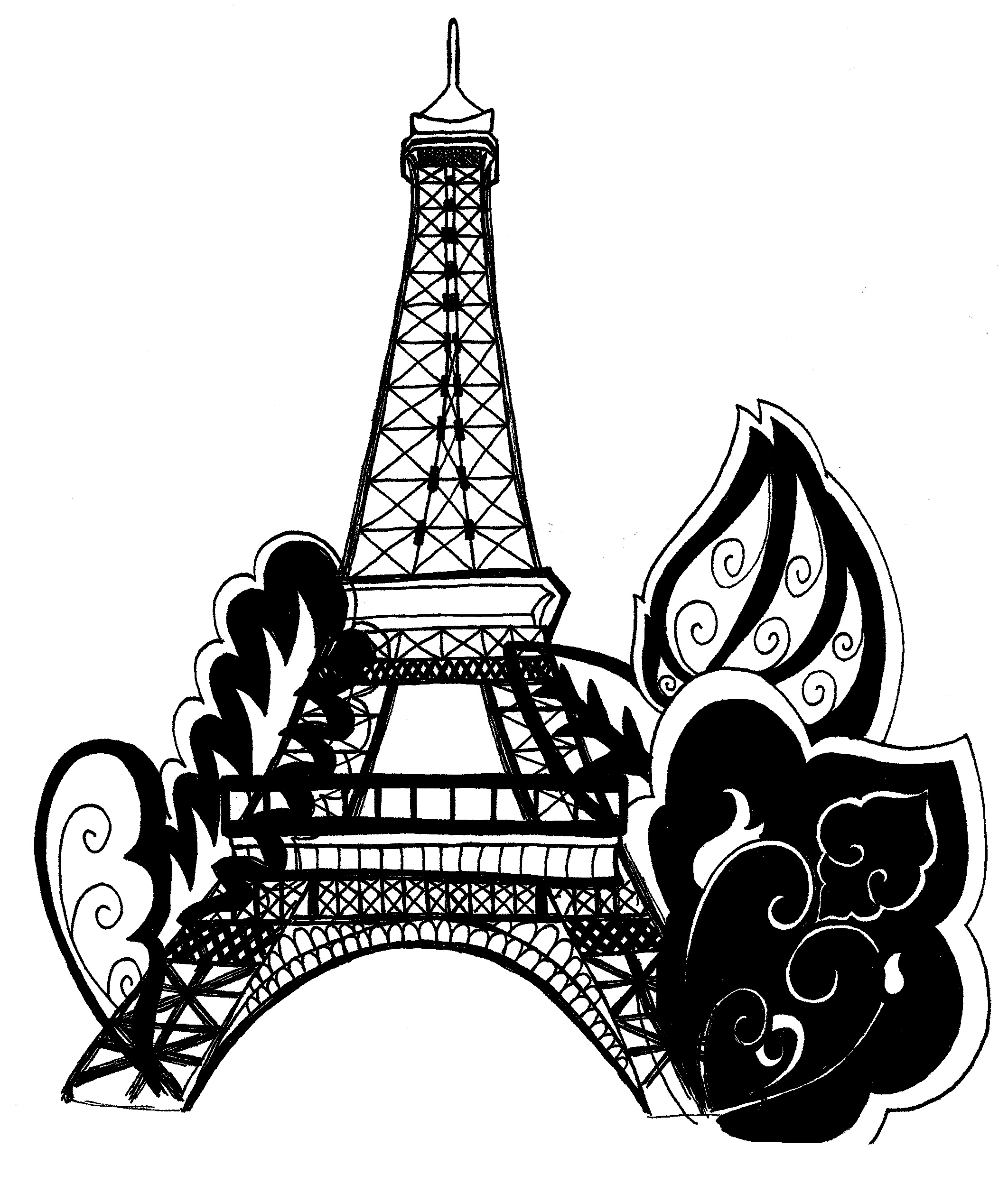 Eiffel Tower coloring #5, Download drawings