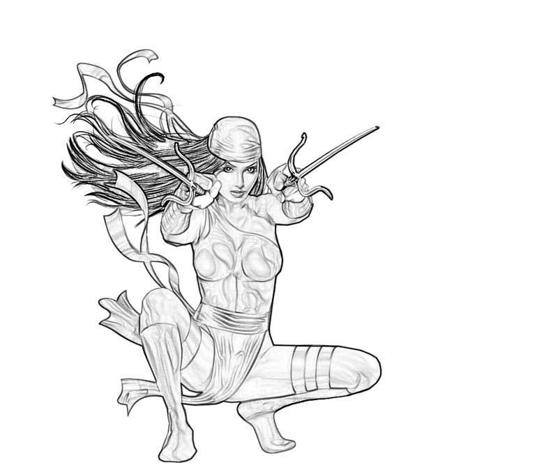 Elektra coloring #4, Download drawings