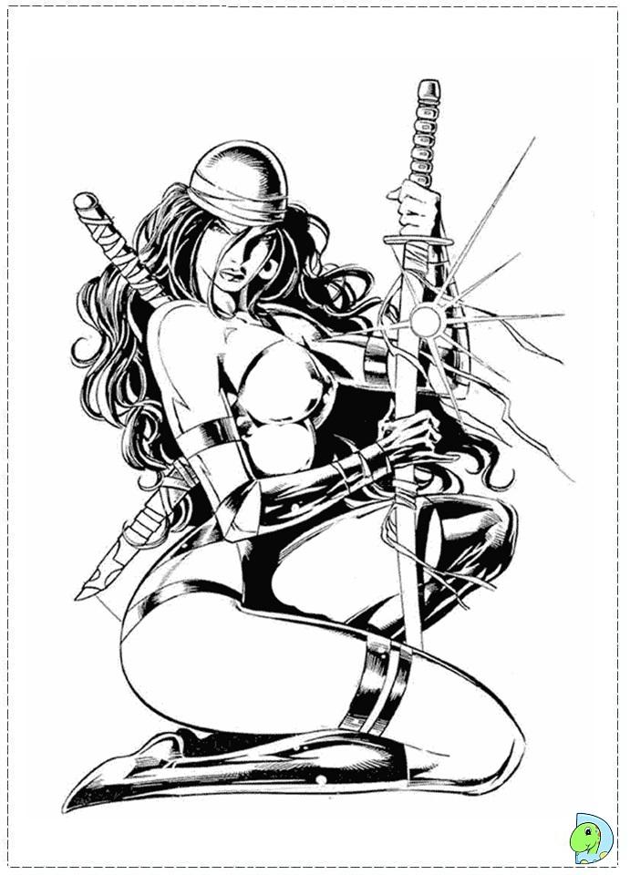 Elektra coloring #2, Download drawings