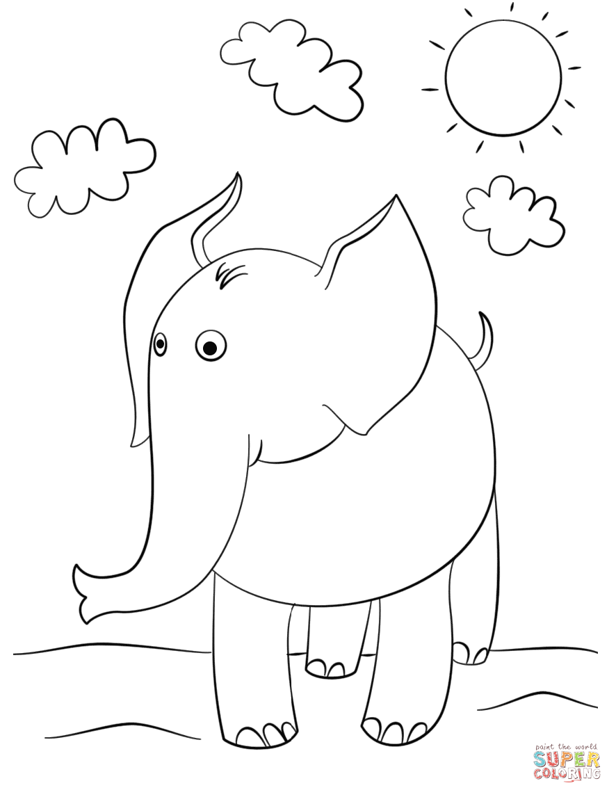 Elephant coloring #7, Download drawings