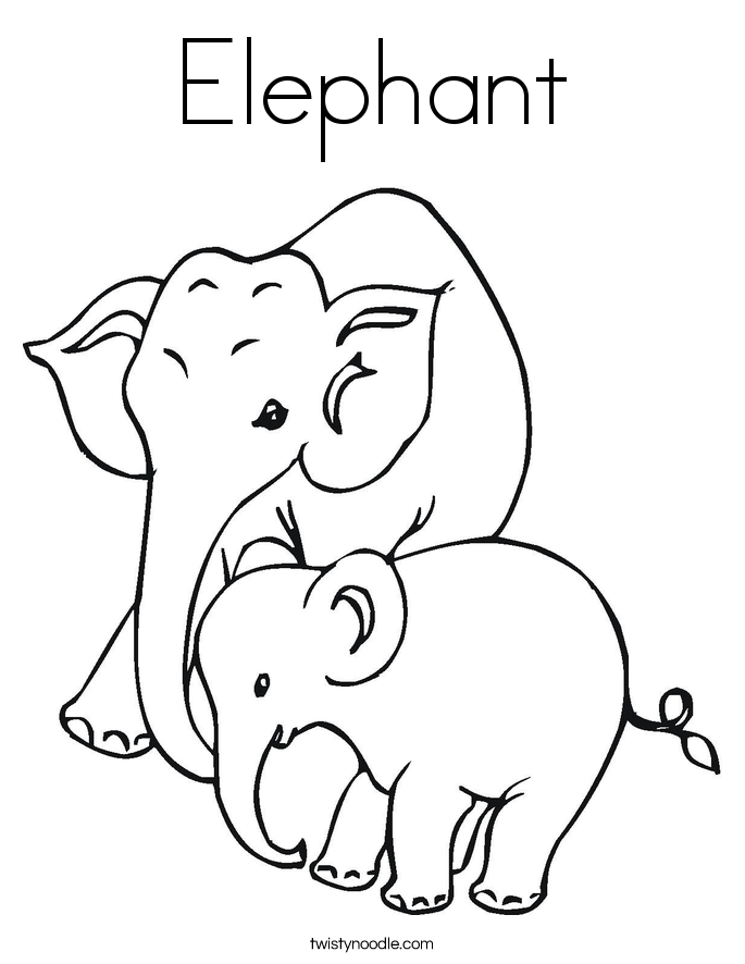Elephant coloring #12, Download drawings