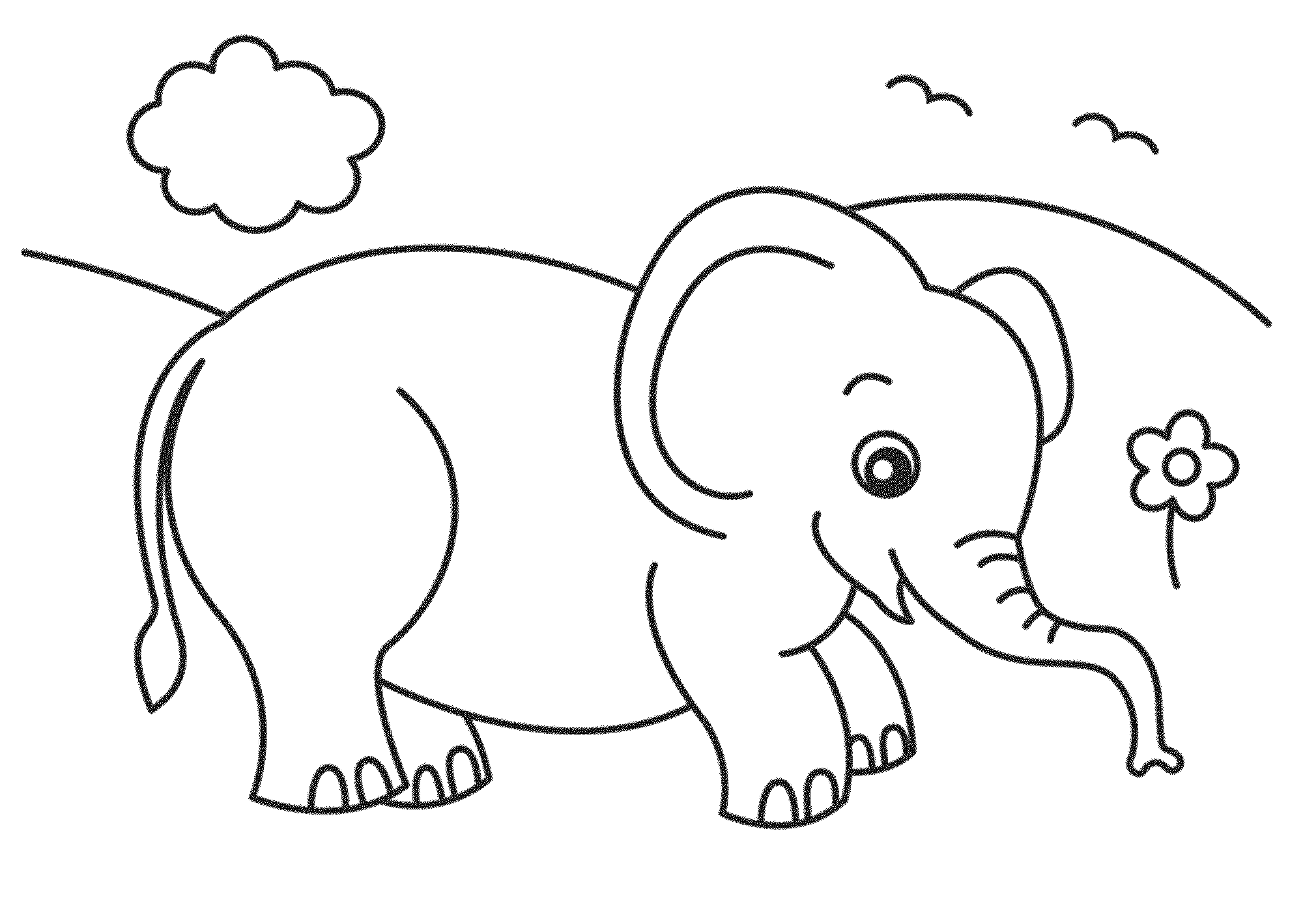 Elephant coloring #14, Download drawings