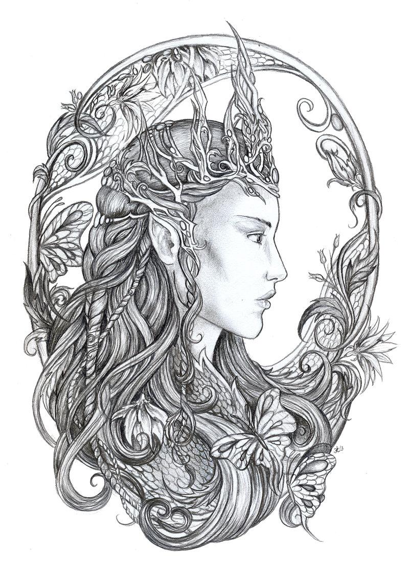 Elven coloring #8, Download drawings
