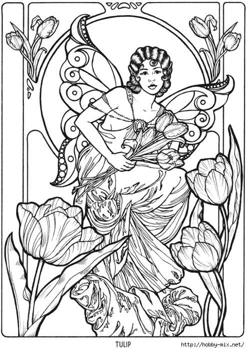 Elven coloring #1, Download drawings