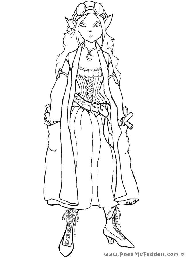 Elven coloring #9, Download drawings