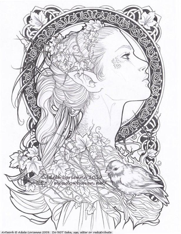 Elvish coloring #16, Download drawings