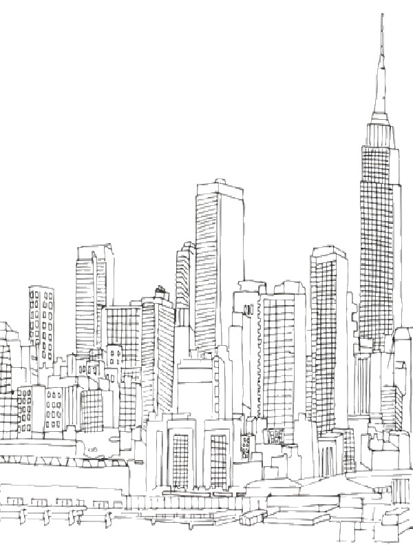 Empire State Building coloring #5, Download drawings