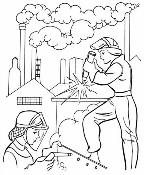 Factory coloring #1, Download drawings
