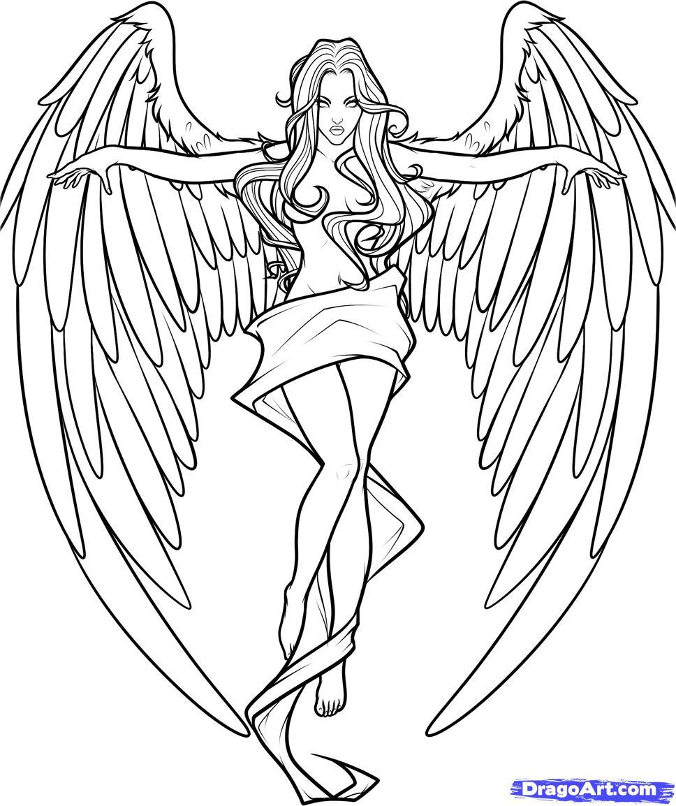 Fallen Angel coloring #1, Download drawings