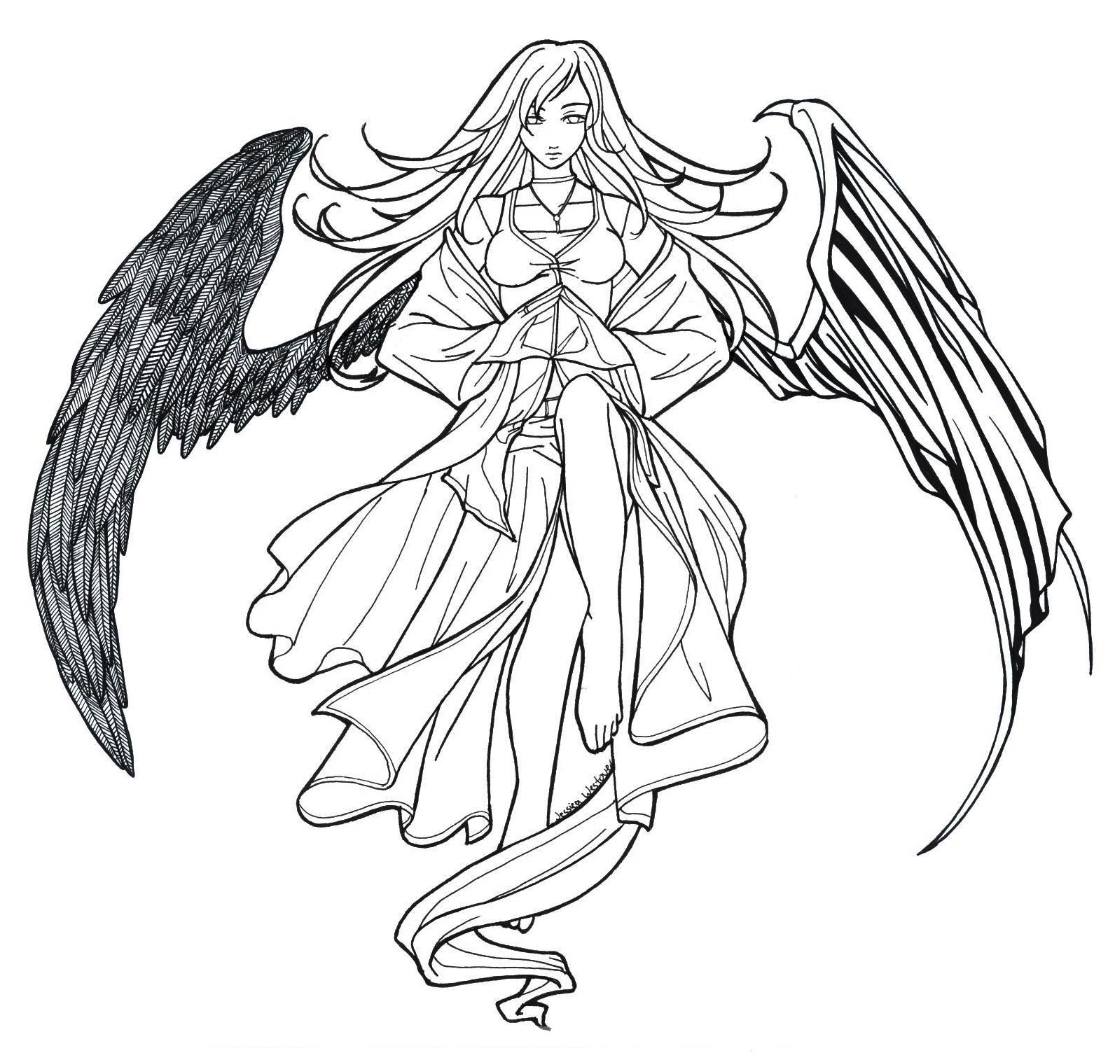 Fallen Angel coloring #8, Download drawings