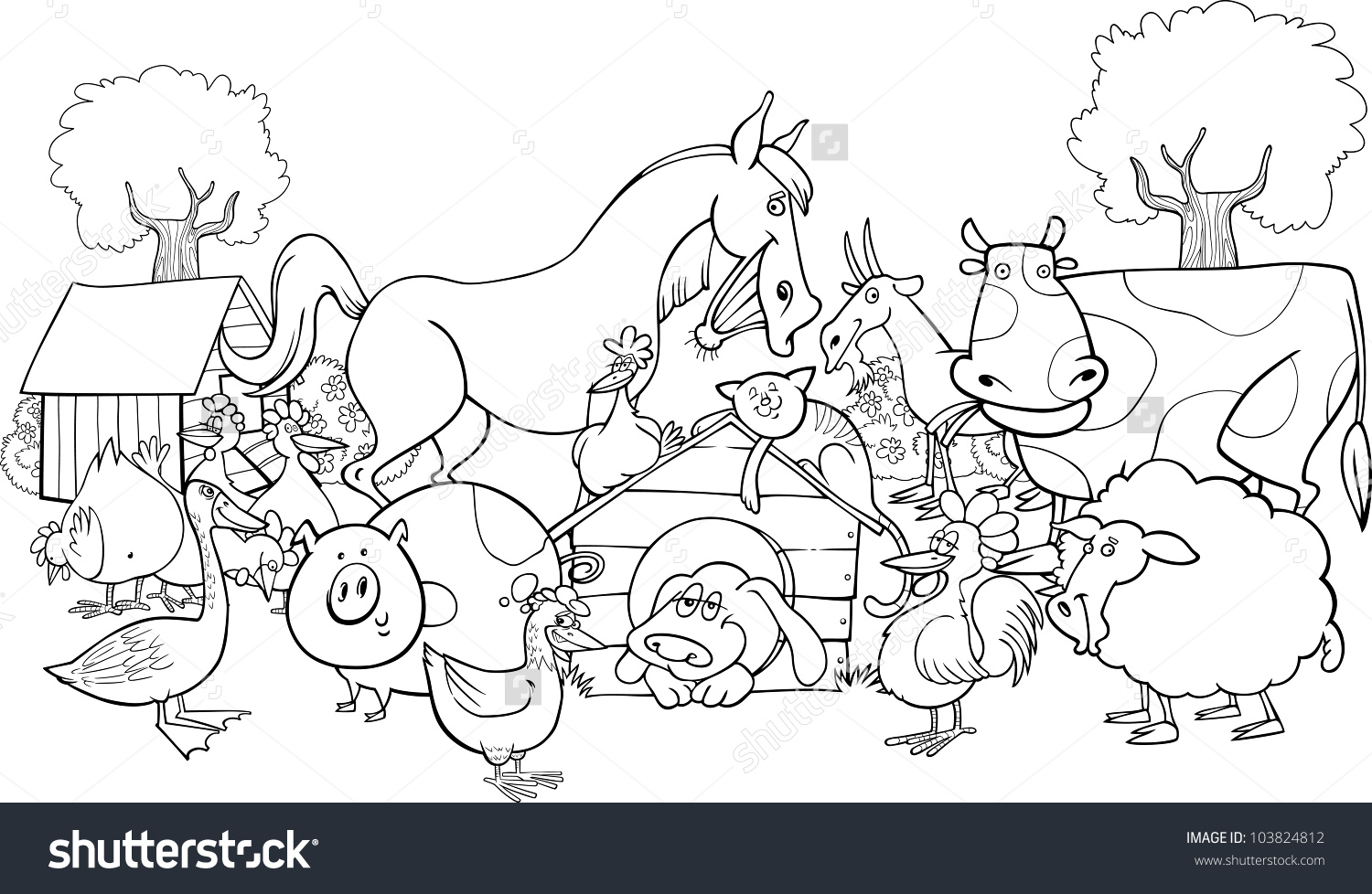 Farm Animals coloring #2, Download drawings