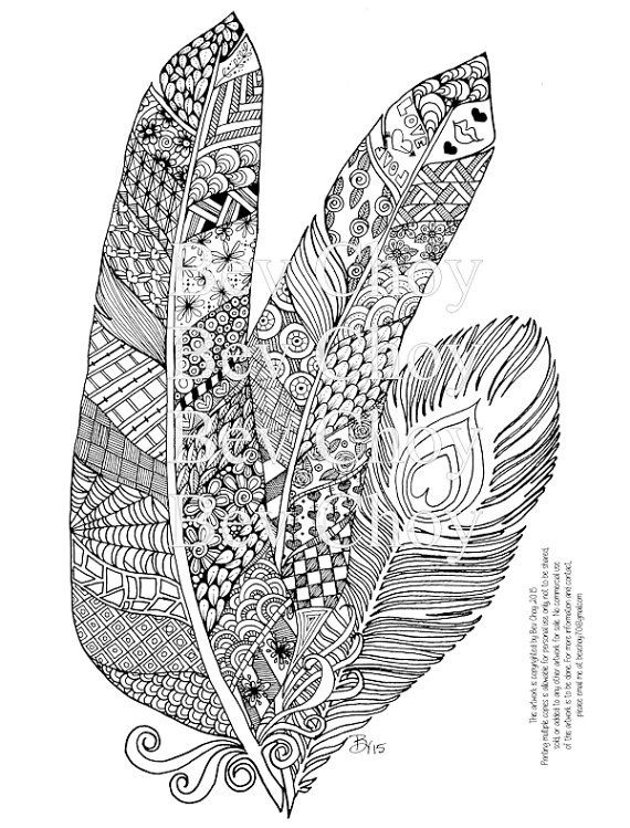 Feather coloring #12, Download drawings