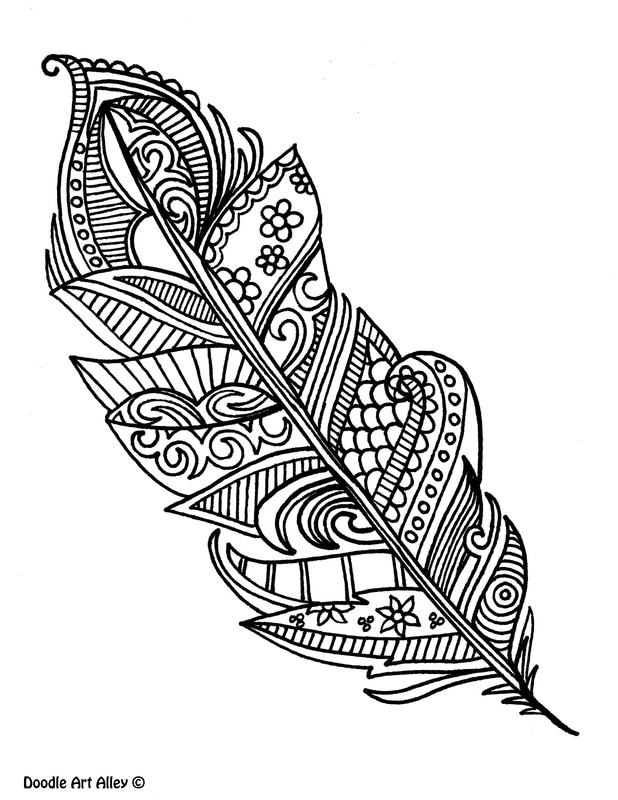 Feather coloring #3, Download drawings