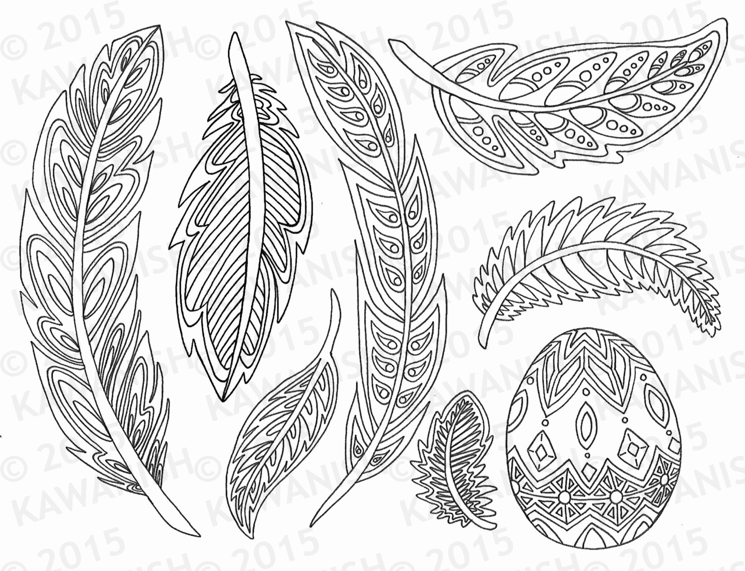 Feather coloring #9, Download drawings
