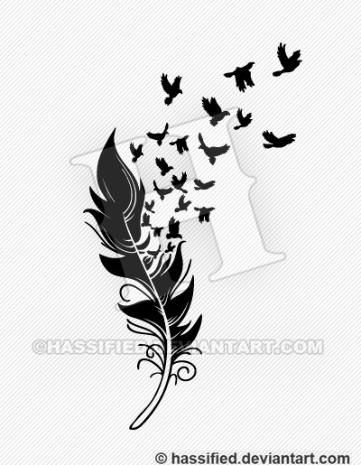 feather with birds svg #206, Download drawings