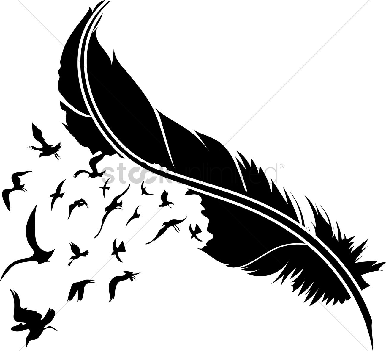 feather with birds svg #204, Download drawings