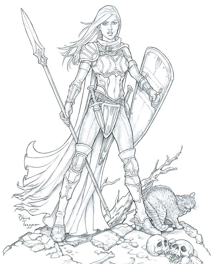 Female Warrior coloring #10, Download drawings
