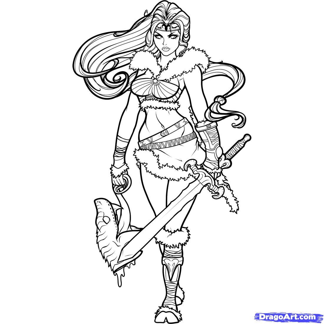 Female Warrior coloring #5, Download drawings