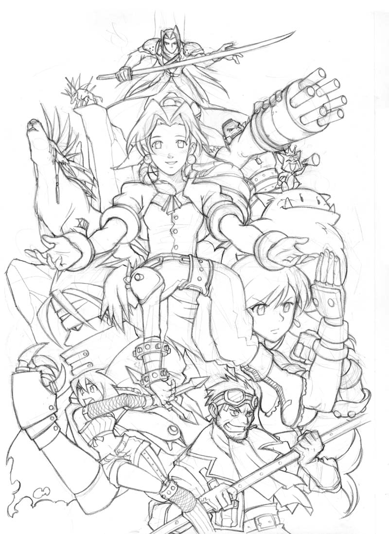 Final Fantasy coloring #7, Download drawings