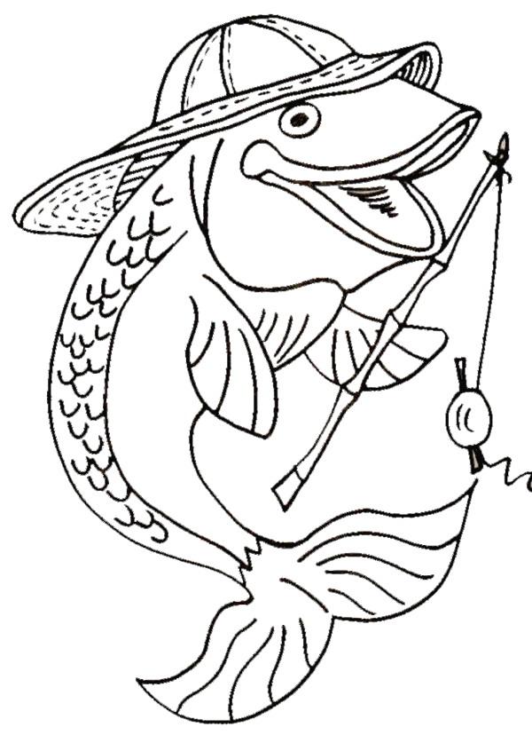 Fishing coloring #1, Download drawings