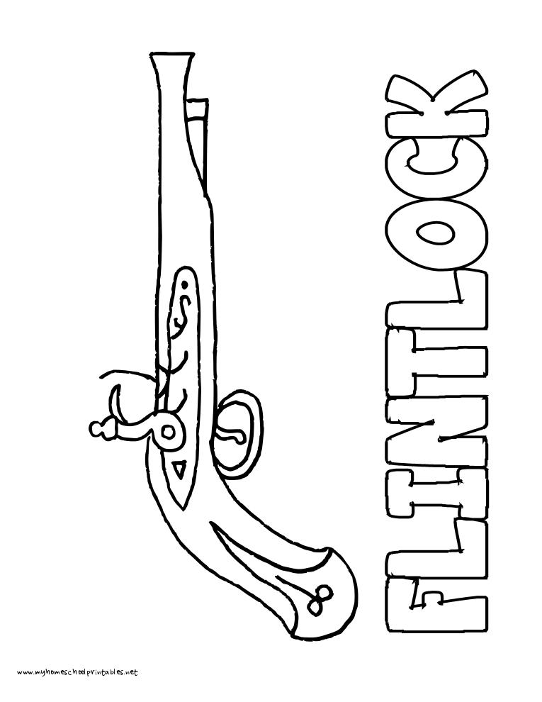 Flint Lock coloring #6, Download drawings
