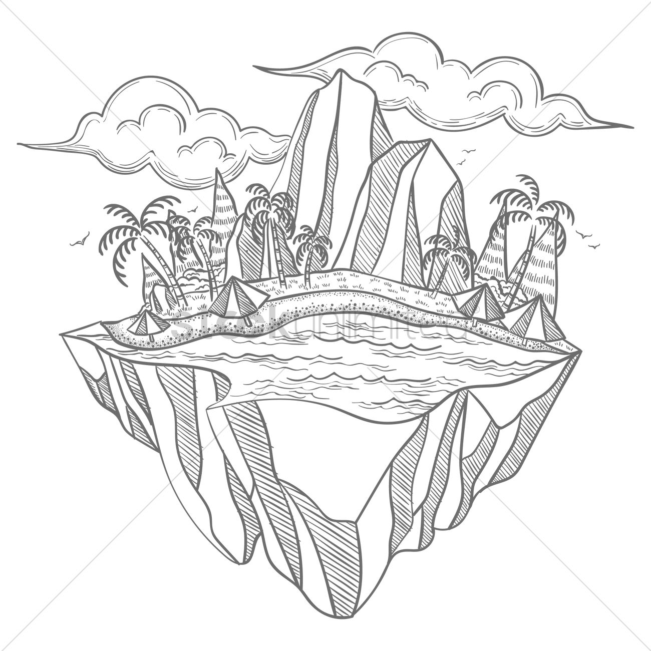 Floating Island coloring #6, Download drawings