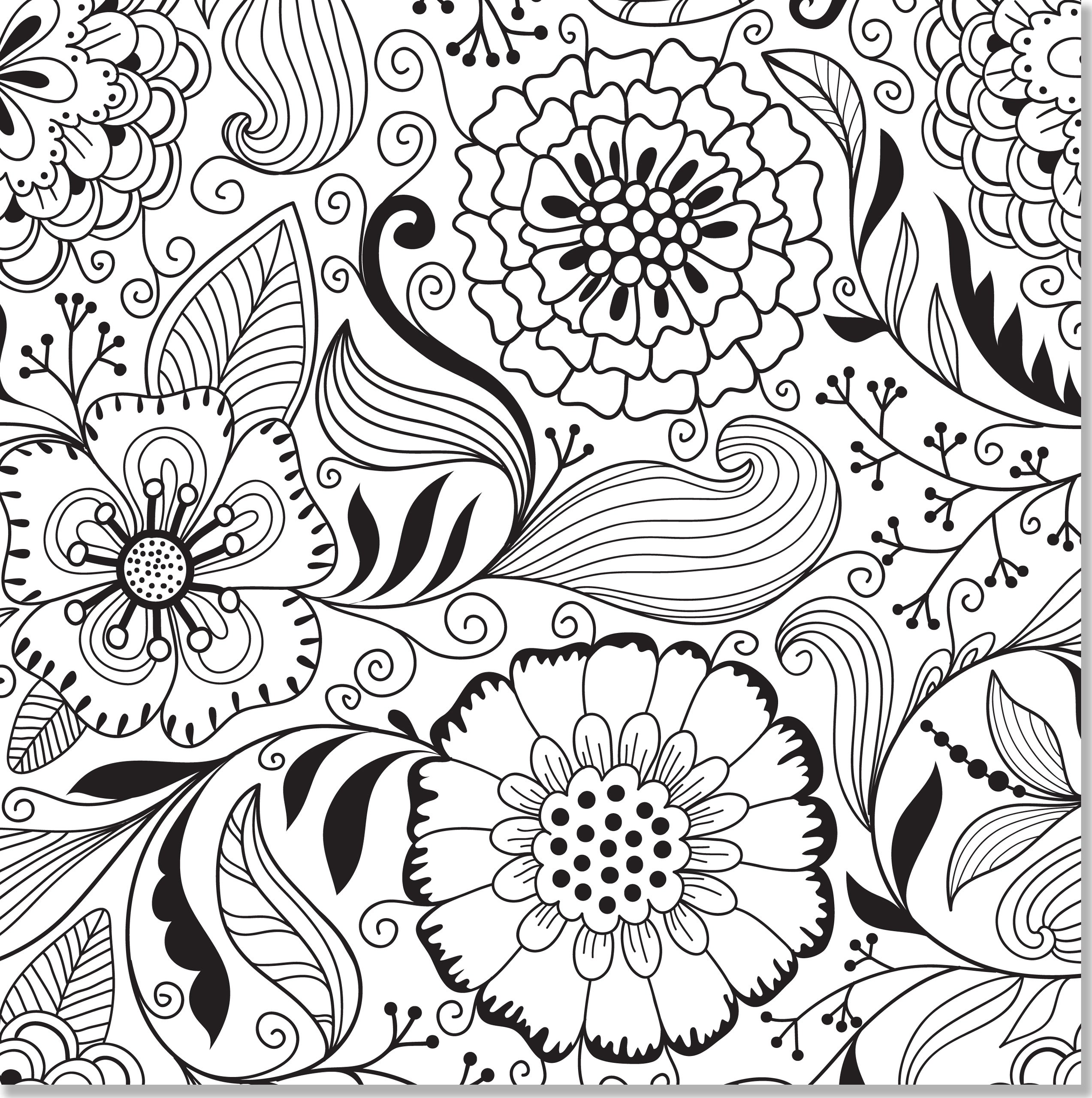 Floral coloring #1, Download drawings