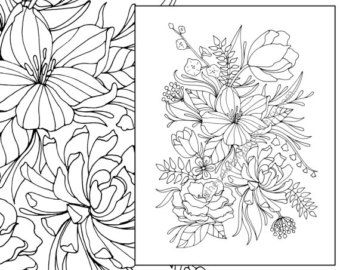 Floral coloring #17, Download drawings