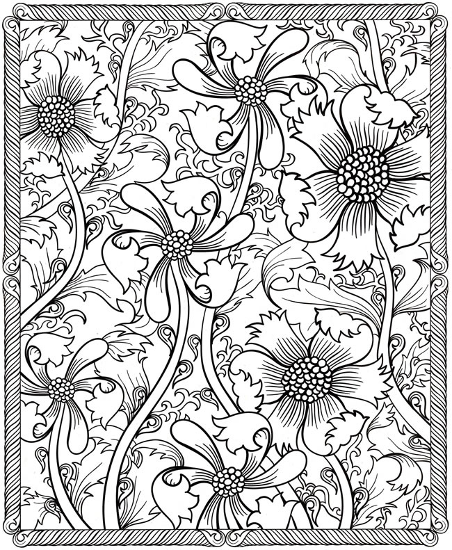 Floral coloring #8, Download drawings