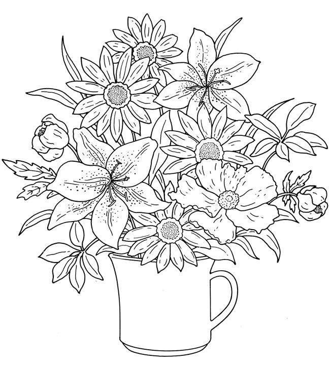 Floral coloring #9, Download drawings