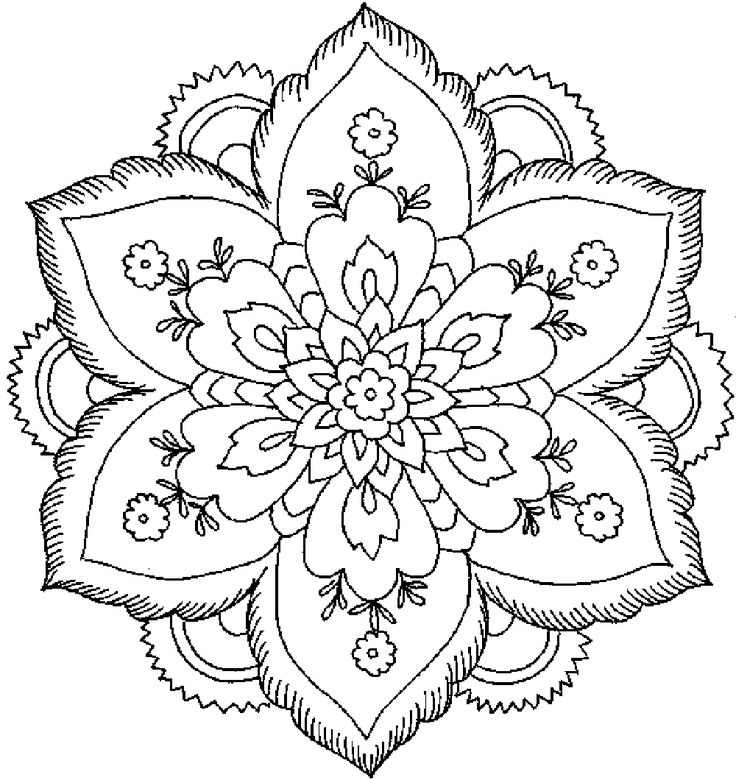Floral coloring #7, Download drawings
