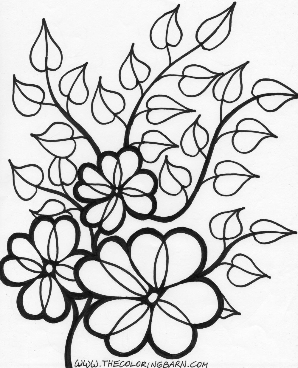 Floral coloring #10, Download drawings
