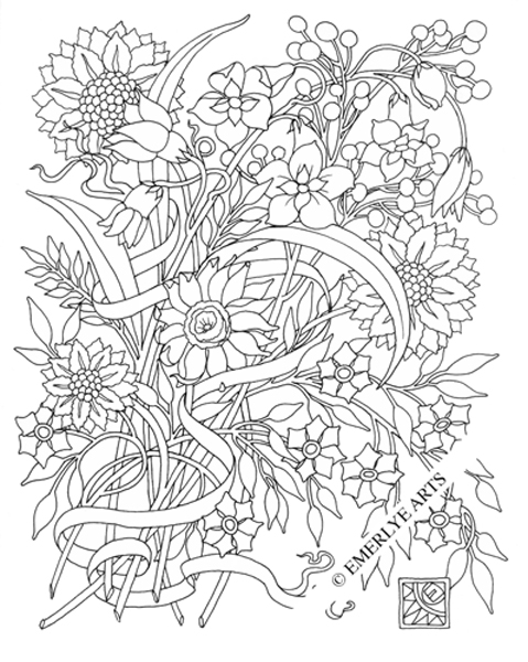 Floral coloring #5, Download drawings