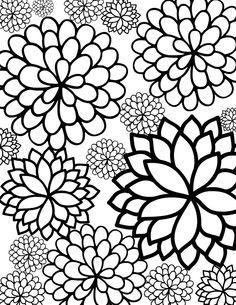 Flower coloring #1, Download drawings