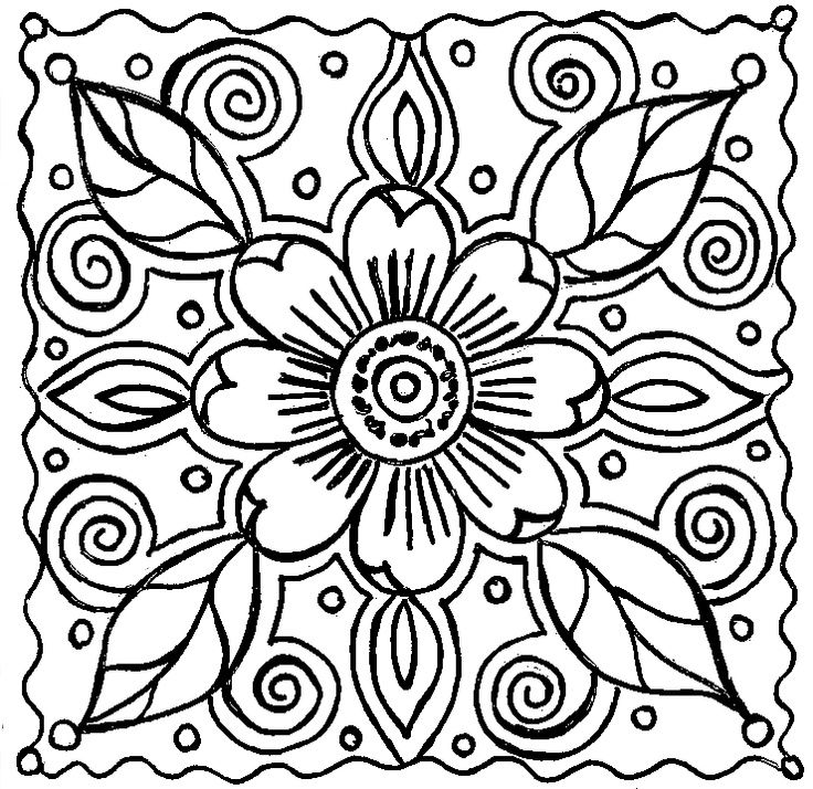 Floral coloring #12, Download drawings