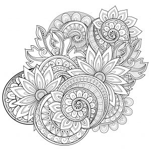 Floral coloring #13, Download drawings