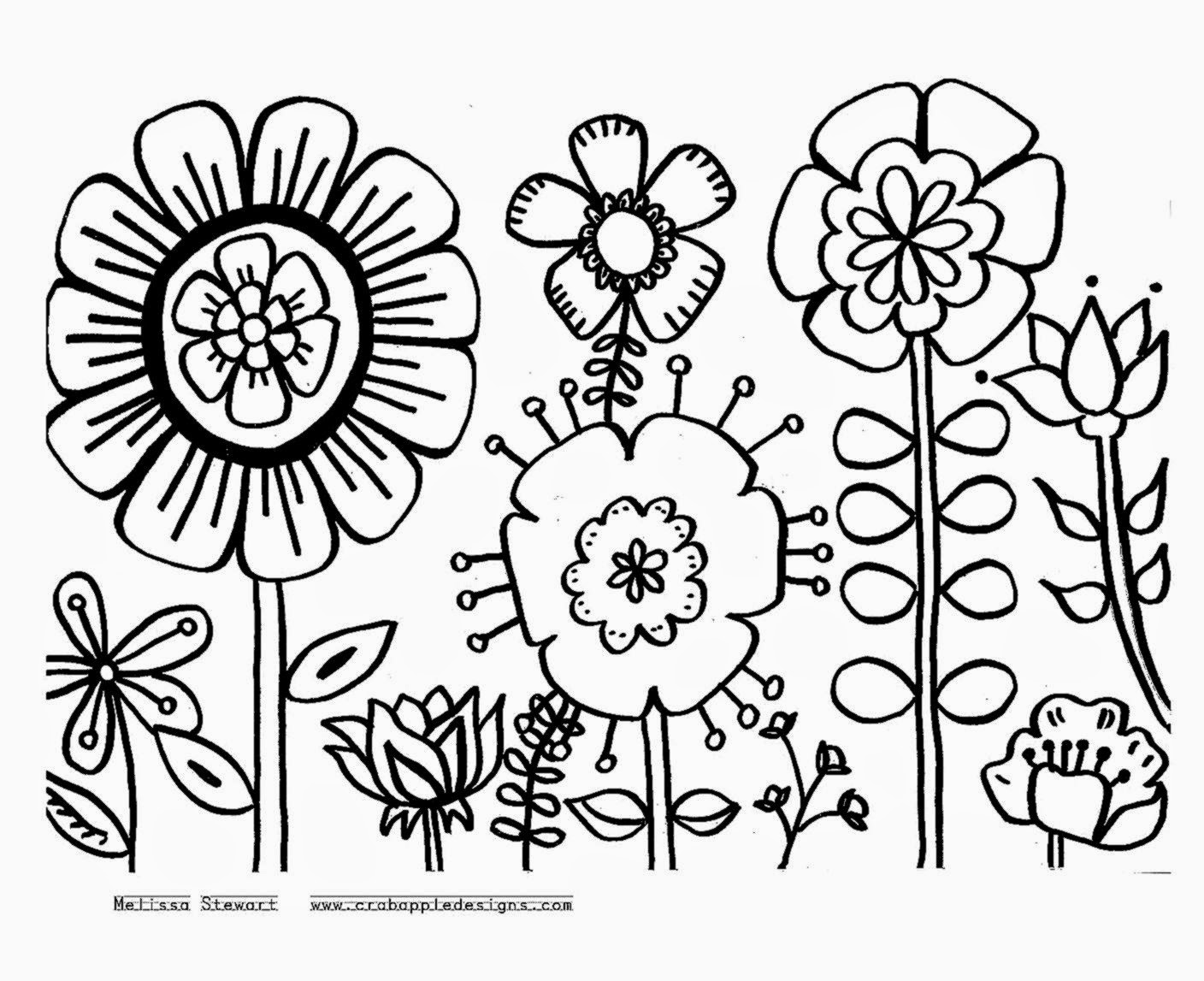 Floral coloring #2, Download drawings